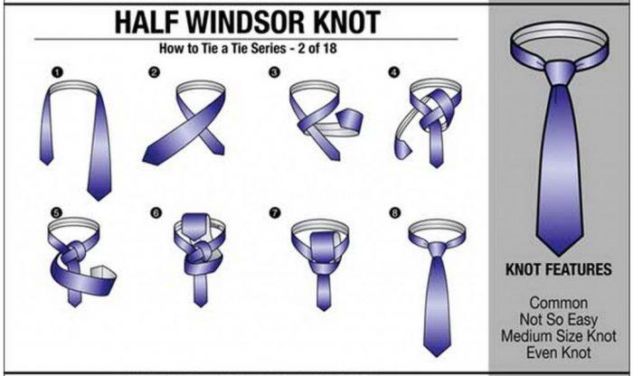 cara ikat tie half windsor knot
