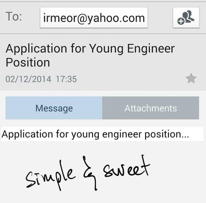 contoh emel mohon kerja