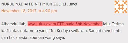 testimoni rujukan exam online ptd